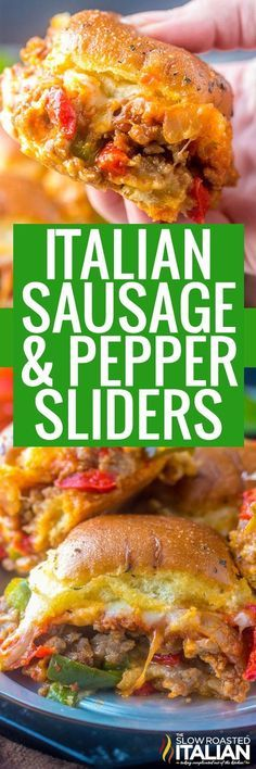 game day food Italian Sausage and Pepper Sliders are meaty, cheesy and gooey. They are the ultimate comfort food for game day, get-togethers or just a good hearty meal! Slider Recipes, Pork Recipes, Cooking Recipes, Recipies, Paninis, Sausage And Peppers, Stuffed Peppers, Appetizer Recipes, Dinner Recipes