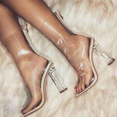 High Heels Transparent PVC Boots with Black or Beige Trim. Women Ankle Clear Boots on Zipper. Fancy Shoes, Pretty Shoes, Cute Shoes, Me Too Shoes, High Heel Boots, Heeled Boots, Shoe Boots, Shoes Heels, Ankle Boots