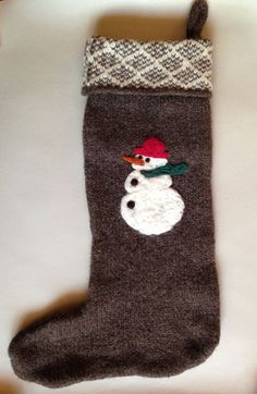 KNIT CHRISTMAS STOCKING Dark Brown with Ivory Patterned by Misiku