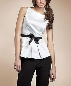 Adorable White & Black Bow Boatneck Top