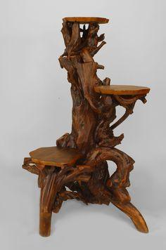 Rustic Adirondack misc. furniture pedestal root