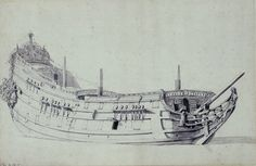 Portrait of a Dutch two-decker - National Maritime Museum Pirate Ship Drawing, Anglo Dutch Wars, Model Ship Building, Ship Paintings, Boat Painting, Wooden Ship, Maritime Museum, Model Ships, Tall Ships