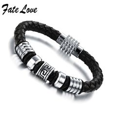2015 Casual Men's Braided Leather Bracelet With Magnetic Clasp  7.87 Inch  Black leather Bracelet  900