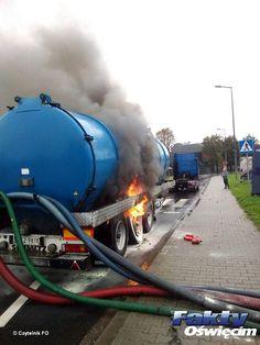 Zapaliła się cysterna z chemikaliami #Oświęcim #cysterna #pożar #Niwa #ogień #straż #strażacy #rondo