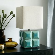 Lubna Chowdhary Tiled Table Lamp - Crackle Teal