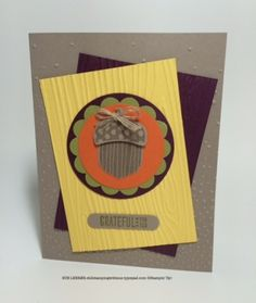 Handmade thank you card using the Acorny Thank You Stamp Set from Stampin' Up!  #fabfriday71