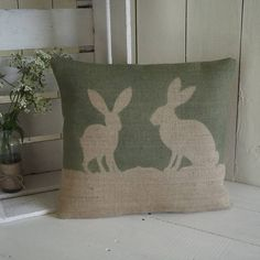 Love these cushions! Country hare hessian cushion by Rustic Country Crafts | notonthehighstreet.com