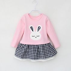 5e37d072e MEIL Girls Dress 2017 Spring Casual Style Baby Girl Clothes Long Sleeve  Cartoon Bunny Print Plaid Dress for Kids Clothes