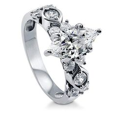BERRICLE Rhodium Plated Sterling Silver Marquise Cut Cubic Zirconia CZ Solitaire Ring Size 6 * Find out more about the great product at the image link.