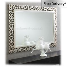 Large Modern Mirror With Silver 'Fizz' Frame 112 x 81.5 cm Large Modern Mirror with Silver Fizz Frame | Exclusive Mirrors [EE360] - �203.15 - Mirrors for Every Interior from Exclusive Mirrors