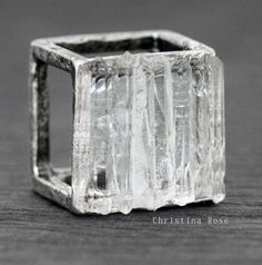 CRYSTAL CAGE Ring Raw White Gemstone by ChristinaRoseJewelry, $71.00