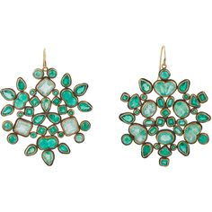 Judy Geib Emerald, Gold & Silver Kaleidoscope Earrings.