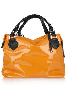 Orange patent leather tote with black leather handles. By Pauric Sweeney.