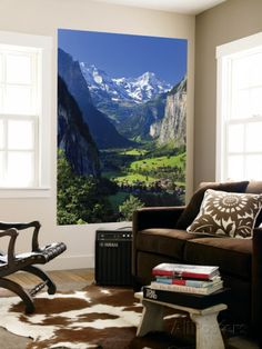 Switzerland, Bernese Oberland, Lauterbrunnen Town and Valley Wall Mural by Michele Falzone at AllPosters.com