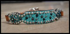 teal croc dog collar, crystals turquoise and set, black and silver spots