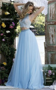 Sherri Hill 32347 Two-Piece Beaded Open Back Long Lace Prom Dresses 2016