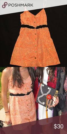 UO dress Worn once, like new! Orange silky, paisley patterned dress with black stripe above waist. Urban Outfitters Dresses Mini