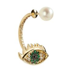 d3c411bc6b56 Delfina Delettrez Gold Cartoon Eye and Pearl Earring (87