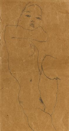 Egon Schiele   Female nude. pencil on paper. 17 1/8 x 12 3/8 in. (43.5 x 31.7 cm.)  Drawn in 1911