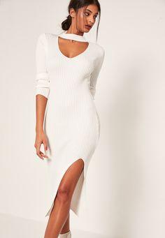 Missguided - Cream Ribbed Choker Neck Side Split Midi Dress