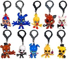 """FNAF Officially Licensed Five Nights At Freddy's 3"""" Figure Hangers SET of 10 Toys Includes: Chase Piece """"Golden Freddy"""""""