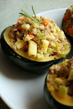 Sausage & Vegetable Stuffed Acorn Squash http://www.delightglutenfree.com/recipes?id=541