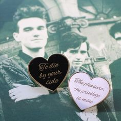 Image of The Smiths inspired heart pin set.