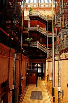 Ned's apartment building: The Bradbury Building, Los Angeles, California This is a real place!