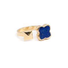 Style 6270 Tala Ring with Lapis Clover and pyramid stud — Made in LA -- by JANNA CONNER $155