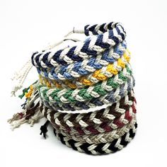 Adjustable Woven Chevron Anklet Nautical Colors