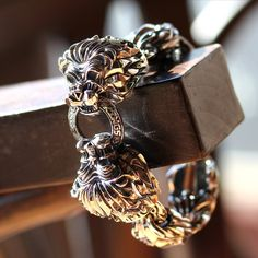 Double Aseroth Lion Bracelet by Deific. One of our largest oversized bracelets available. Extremely detailed and fearless.