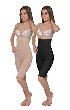 Hanes Plus Size High-waist Thigh Slimmers Shapers Black &… High Waist, Thighs, Two Piece Skirt Set, Plus Size, Skirts, Black, Dresses, Fashion, Vestidos