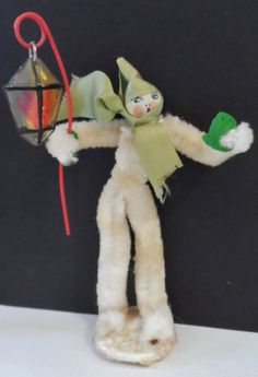 "Vintage Chenille Pipe Cleaner Elf Figure Made Japan 5 1/4"" Tall & w/ Lantern 6""H"