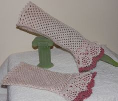 Hand Crocheted Ivory And Mauve Lace Cuffs by mysticbazaar on Etsy, $35.00