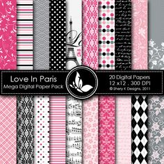 Love In Paris  This listing is for 20 printable High Quality Digital papers.    Each paper measures 12 x 12 inch, 300 DPI, JPEG format.    Great for scrapbooking, making cards, invitations, tags and photographers.