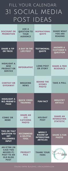 31 days worth of social media post ideas