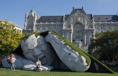 A giant sculpture in Budapest.A giant sculpture titled 'Pop Up' by Ervin Herve-Loranth takes pride of place in Szechenyi Square in Budapest, Hungary.