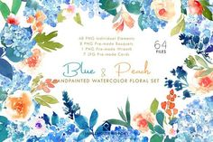 Blue & Peach- Watercolor Floral Set by SmallHouseBigPony on @creativemarket