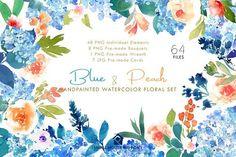 Blue & Peach- Waterc