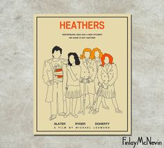 HEATHERS Movie Poster, Fine Art Print (beige version)