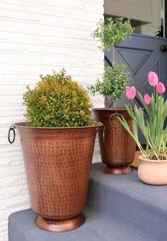 Copper Planters // Transforming An Outdoor Space for Entertaining - The Inspired Room