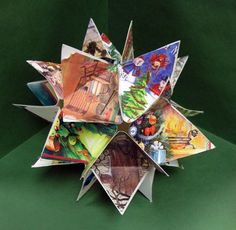 project with kids from old greeting cards (or  as a end of the year project with previous art work?)