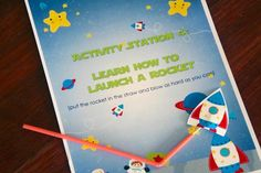 party activity (learn how to launch a rocket) at a space party #rocket #space #party #activity
