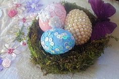 Embelished Easter Eggs in a moss nest