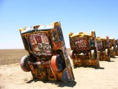 """Cadillac Ranch, Marfa, Texas. Quite the """"arty"""" place, now...."""