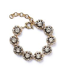 Soprano - Stunning link bracelet featuring 3D flowers with rhinestone petals