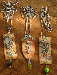 Altered art necklaces