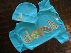 Boutique Hand Appliqued Onesie and Cap Gift Set by kiddykouture, $26.00