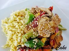 Raw Sesame Vegetable Stir Fry with Celeriac Garlic Rice   Fragrant Vanilla Cake