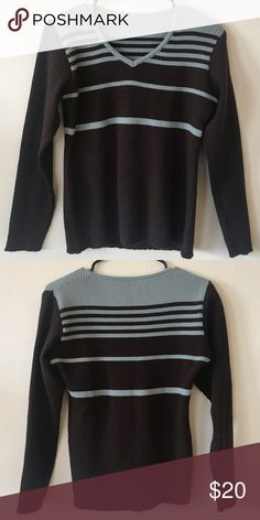 1e768876a6 Blue and brown striped sweater (NOT from madewell. I originally bought this  on depop